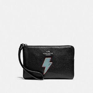 Coach Lightning Bolt Motif Corner Wristlet Wallet